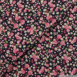Coton imprimé vivre sans complexe rose fond noir