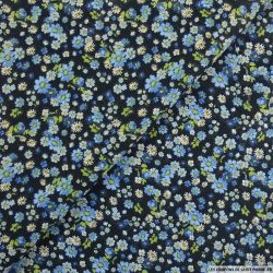 Coton imprimé vivre sans complexe bleu fond noir
