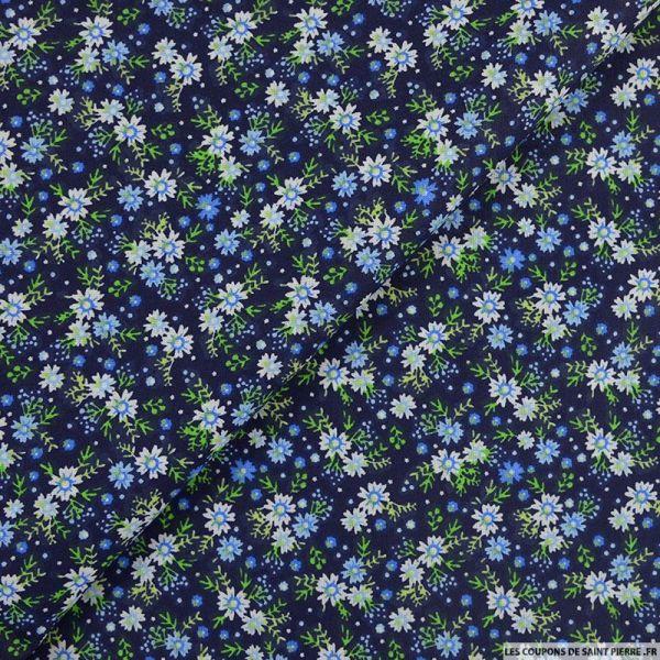 Coton imprimé soir d'hiver bleu fond marine