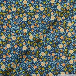 Coton imprimé fort comme une fleur fond marine