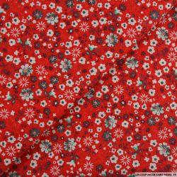 Coton imprimé mon enfance fond rouge