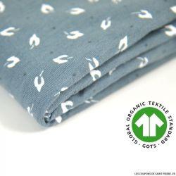 Jersey coton Bio GOTS feuille d'automne gris-bleuté
