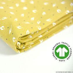 Jersey coton Bio GOTS feuille d'automne moutarde