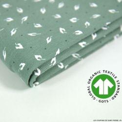 Jersey coton Bio GOTS feuille d'automne vert