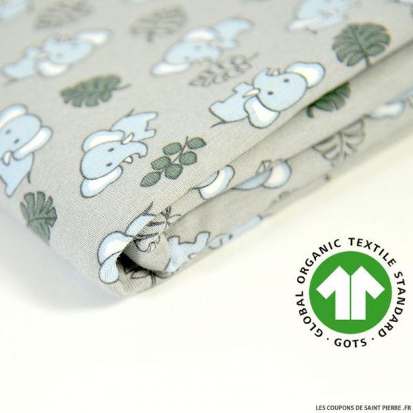 Jersey coton Bio GOTS jardin enchanté blanc