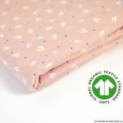 Jersey coton Bio GOTS feuille d'automne vieux rose