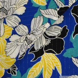 Crépon viscose floral rayé lurex argent fond bleu