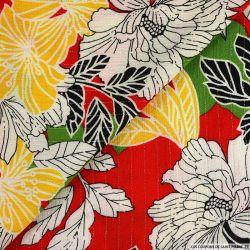 Crépon viscose floral rayé lurex argent fond rouge