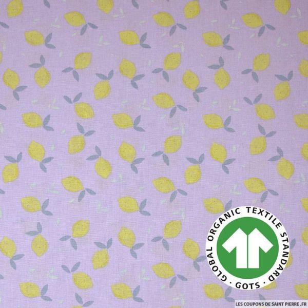 Popeline coton Bio GOTS citron fond parme