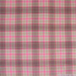 Voile de coton imprimé carreaux lurex rose et vert