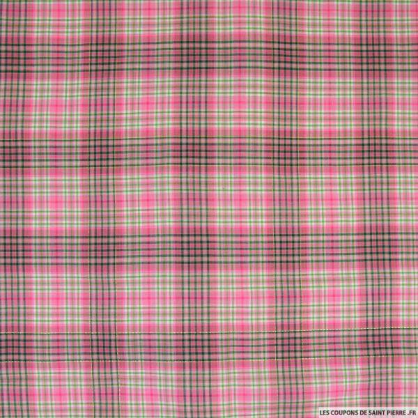 Voile de coton carreaux lurex rose et vert