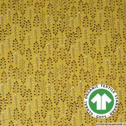 Popeline coton Bio GOTS  simularbre moutarde