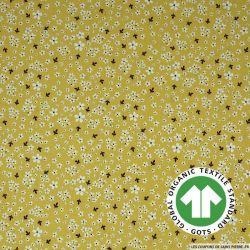 Popeline coton Bio GOTS matinée poétique jaune nankin