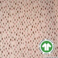 Popeline coton Bio GOTS petit buns fond rose pâle