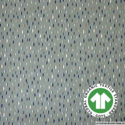 Popeline coton Bio GOTS petit buns fond gris-vert
