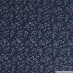 Jean's coton fin imprimé petites fleurs marine