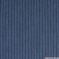 Jean's coton fin  tissé rayures bleu