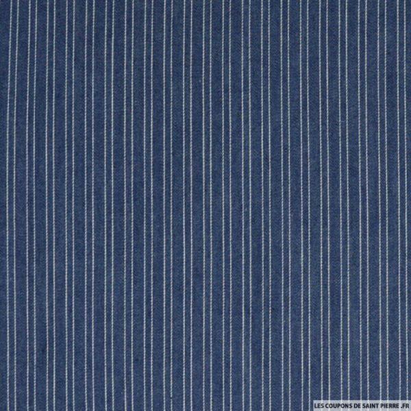 Jean's coton imprimé rayures bleu