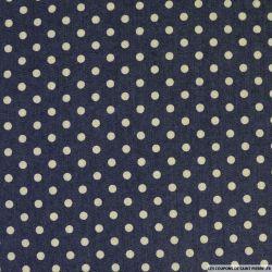 Jean's coton fin imprimé pois 6mm marine