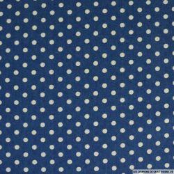 Jean's coton fin imprimé pois 6mm bleu