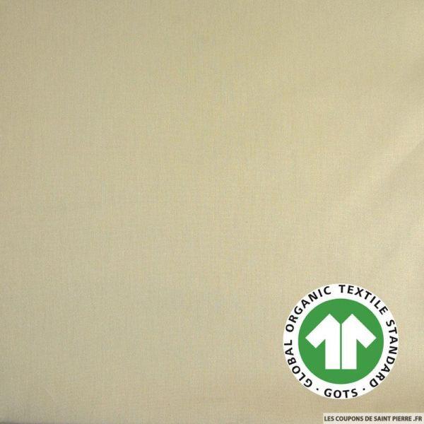 Popeline coton Bio GOTS beige