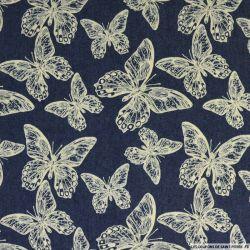 Jean's coton fin imprimé papillons marine