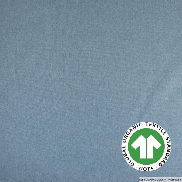 Popeline coton Bio GOTS gris bleu