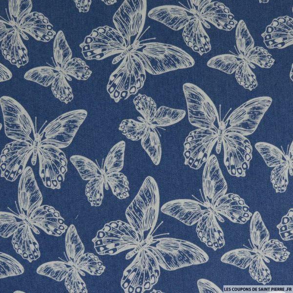 Jean's coton fin imprimé papillons bleu