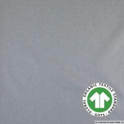 Popeline coton Bio GOTS gris