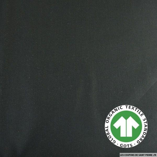Popeline coton Bio GOTS noir