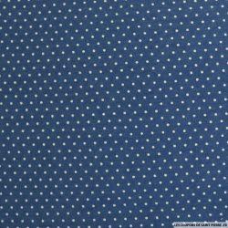 Jean's coton fin imprimé pois 3mm bleu