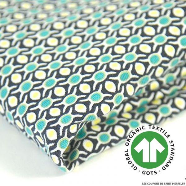 Jersey coton Bio GOTS pois bleu