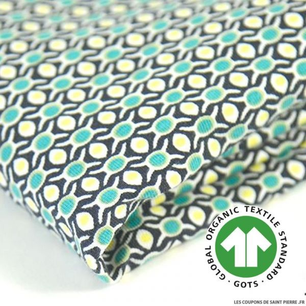 Jersey coton Bio GOTS  pois turquoise