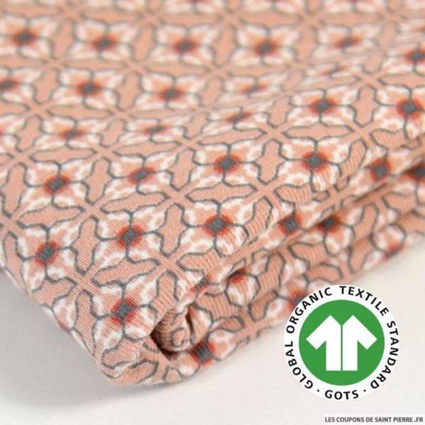 Jersey coton Bio GOTS azulero vieux rose
