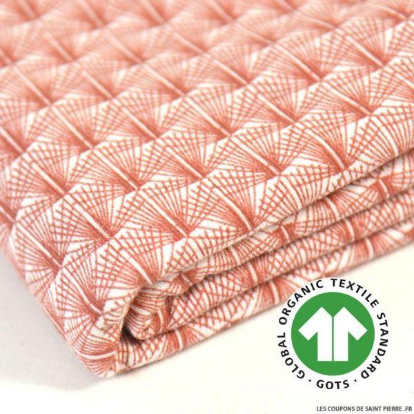 Jersey de coton Bio GOTS rose des vents terracotta