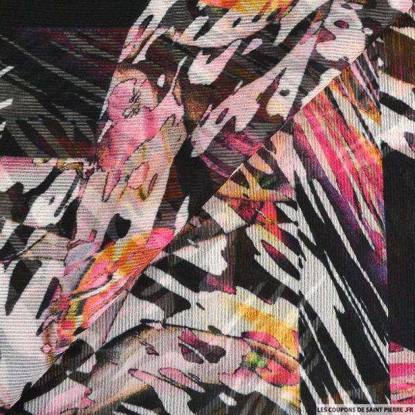 Mousseline crinkle imprimée vision d'ailleurs multicolore