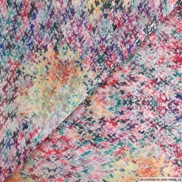 Mousseline crinkle imprimée puzzle multicolore