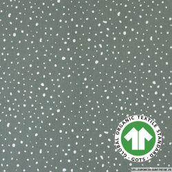 Popeline coton Bio GOTS flocon d'espoir vert poussiéreux
