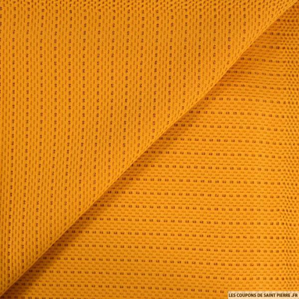 Maille structurée ajourée moutarde