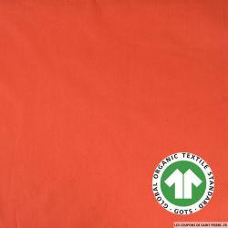 Popeline coton Bio GOTS orange pâle