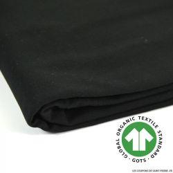 Jersey french terry coton Bio GOTS noir