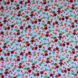 Double gaze imprimé parmi les roses ciel