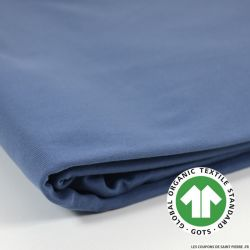 Jersey french terry coton Bio GOTS bleu turquin