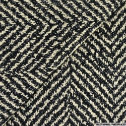 Maille jacquard chevron noir fond écru