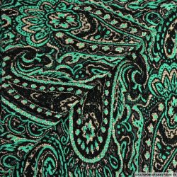 Maille brocart polyviscose cachemire turquoise