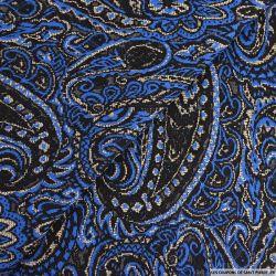 Maille brocart polyviscose cachemire bleu électrique