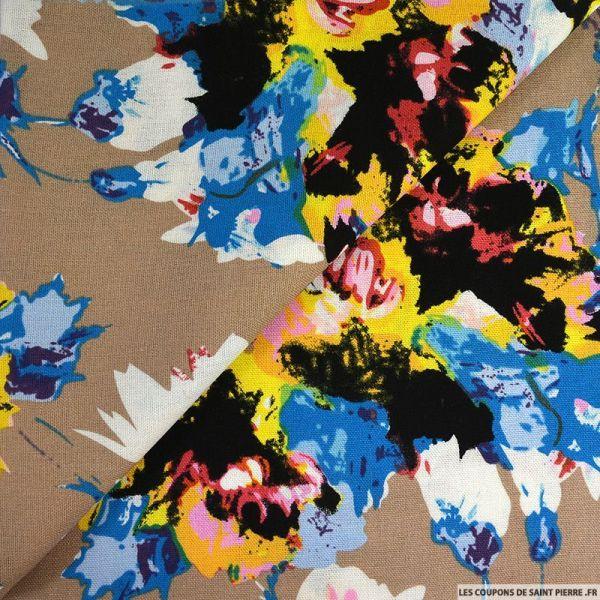 Lin viscose imprimé aquarelle floral beige foncé