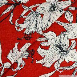 Lin viscose imprimé balade poétique rouge
