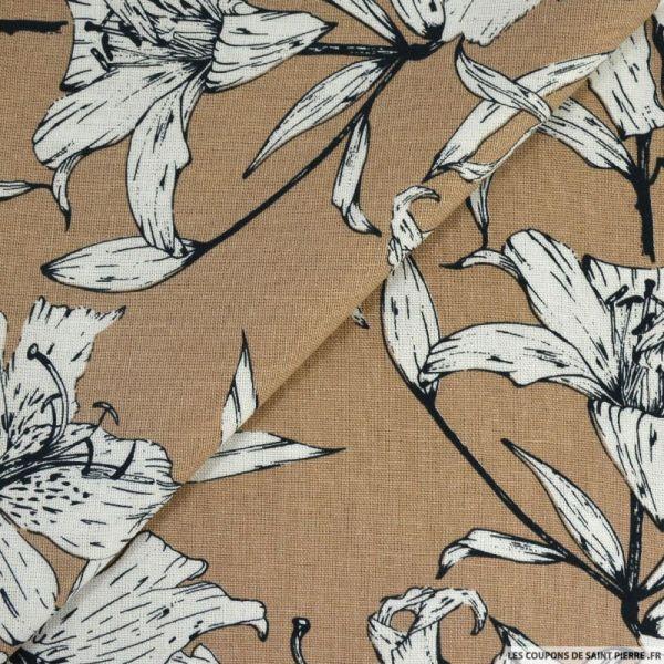 Lin viscose imprimé balade poétique beige pâle