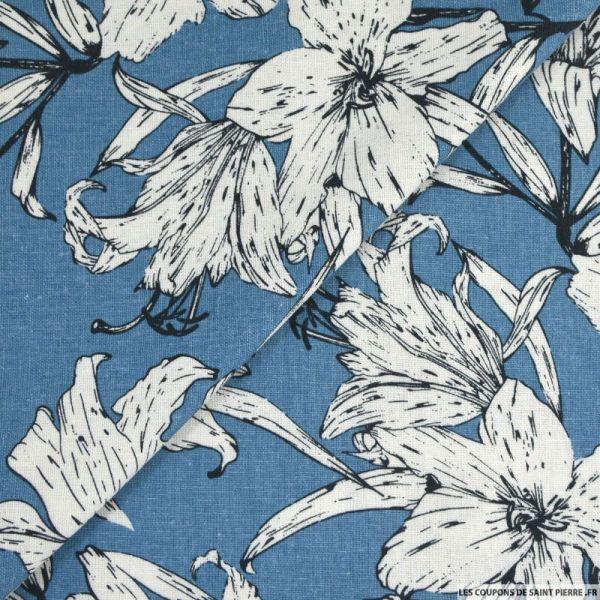 Lin viscose imprimé balade poétique bleu ciel